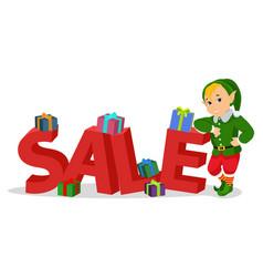 cartoon cute christmas elf with sale vector image