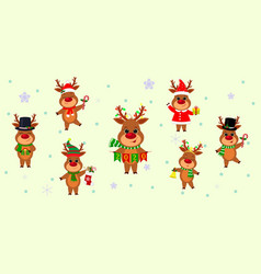 christmas and new year 2020 a set seven cute vector image