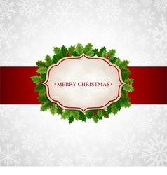Christmas background with holly leaves vector image