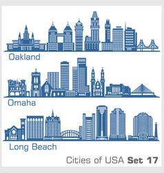 Cities usa - oakland long beach omaha vector