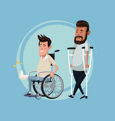 color background set men in wheelchair and vector image