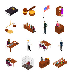 court session concept icons 3d isometric view vector image