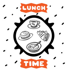 cute hand drawn poster for cafe with sketch style vector image