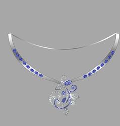Decorating with pendant of precious stones vector
