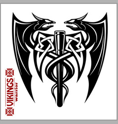 Dragons and axe - viking emblem - vector