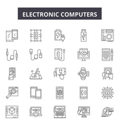 electrronic computers line icons signs vector image