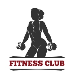 Fitness club emblem with training woman vector