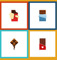 Flat icon cacao set of delicious bitter vector