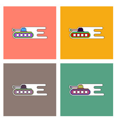 Flat icon design collection military tank high vector