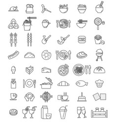 food icon set for restaurant vector image