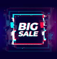 glitch sale poster glitch distorted effect big vector image