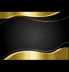 Gold metal banner on black background vector