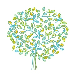 Green decorative tree design element in hand drawn vector