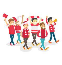 group of happy sport fans supporting their team vector image