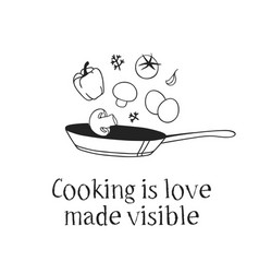 Hand drawn pan food and quote creative ink art vector