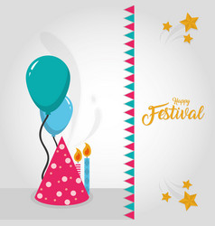 happy festival card vector image