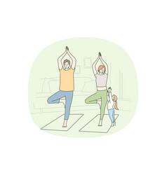 healthy active lifestyle training at home concept vector image