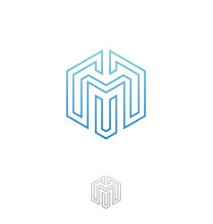 hexagon m letter vector image