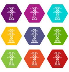 high voltage tower icon set color hexahedron vector image