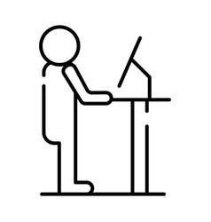 Human figure working in desktop avatar line style vector