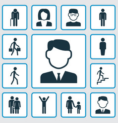 Human icons set collection of delivery person vector