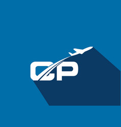 Initial letter c and p with aviation logo design vector