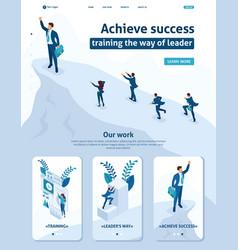 Isometric businessman at top leadership success vector