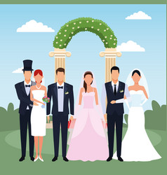 Just married couples standing over floral weding vector