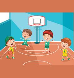 Kid playing basketball court vector