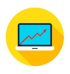 Laptop growth graph circle icon vector