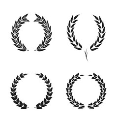 Laurel wreath foliate symbols set black circular vector