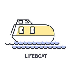 lifeboat on waves icon with enclosed rescue vessel vector image