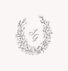 line drawing leaf flower wreath frame vector image