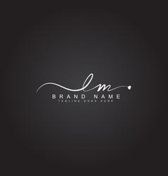 Lm handwritten signature logo - initial letter vector
