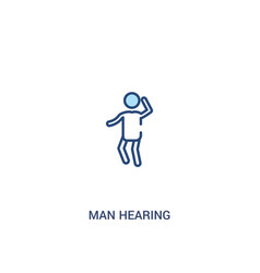 Man hearing concept 2 colored icon simple line vector