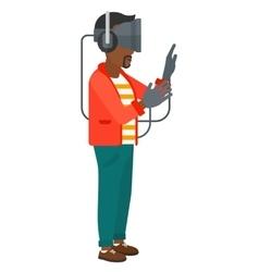 Man in oculus rift vector