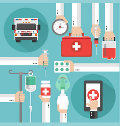 medical online design flat with ambulance vector image