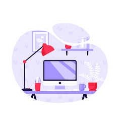 modern workplace home computer on a table home vector image