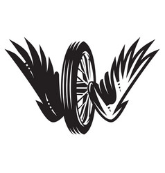 monochrome pattern with wheel wings on a vector image
