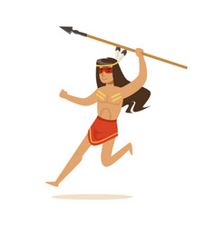 Native american indian in loincloth running with vector
