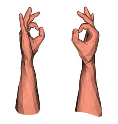Ok symbol low poly hand vector