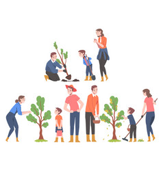 People characters planting tree sapling picking vector