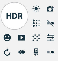 Photo icons set collection of photographing hdr vector
