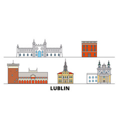 Poland lublin flat landmarks vector