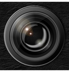 Realistic camera lens with the shutter closed in vector