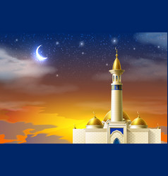 Realistic muslim mosque night moon star sky vector