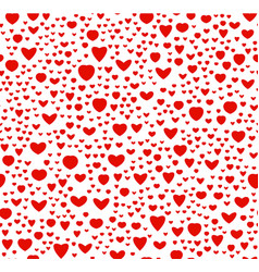 Red and white color seamless hearts pattern vector