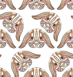 Seamless pattern rabbit coloring outlines in boho vector image