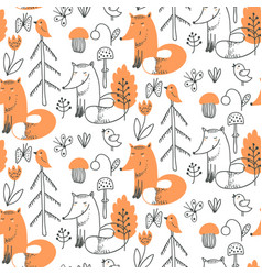 seamless pattern with cute hand drawn fox vector image