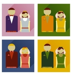 Set of flat icons with long shadow bride and groom vector